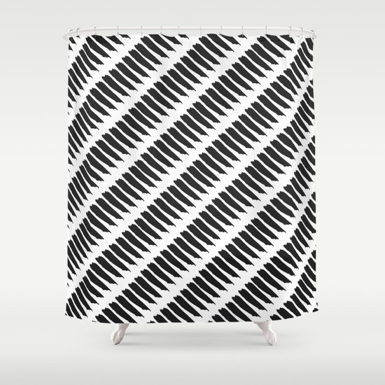 Black and white tiger stripes shower curtain by pencil me - Tiger stripes black and white ...