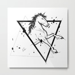 Horse Handmade Drawing, Made in pencil and ink, Tattoo Sketch, Tattoo Flash, Blackwork Metal Print