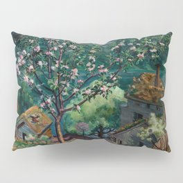Apple Tree and Daffodils in Bloom alpine landscape painting by Nikolai Astrup Pillow Sham