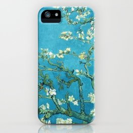 Vincent van Gogh Blossoming Almond Tree (Almond Blossoms) Light Blue iPhone Case