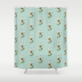 Vintage Inspired Deer with Decorations Shower Curtain