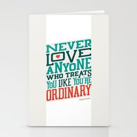 oscar wilde Stationery Cards featuring Never Ordinary - Oscar Wilde by Travis Cooper