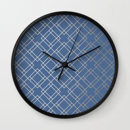Simply Mid-Century in White Gold Sands on Aegean Blue Wall Clock