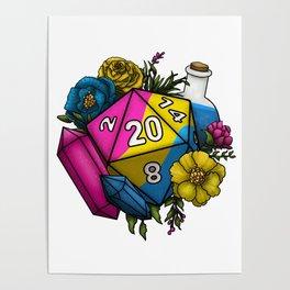 Pride Pansexual D20 Tabletop RPG Gaming Dice Poster
