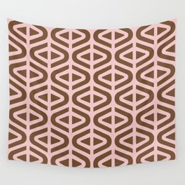 Mid Century Modern Split Triangle Pattern Pink and Brown Wall Tapestry
