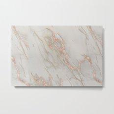 Marble - Rose Gold Marble Metallic Blush Pink Metal Print