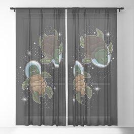 Space Turtles | Spaceman Reptile Galaxy Explorer Sheer Curtain