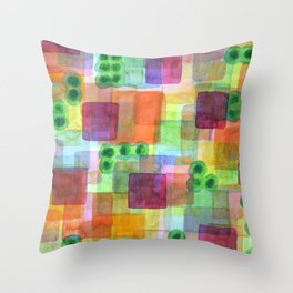 Red Bungalows and Trees Throw Pillow
