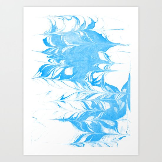 Suminagashi blue and white 1 marble spilled ink ocean swirl watercolor painting Art Print