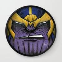 thanos Wall Clocks featuring The Mad Titan by chris panila