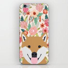 Shiba Inu floral dog face cute peeking shiba inus gifts iPhone Skin