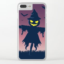 Halloween Scene Scarecrow Clear iPhone Case