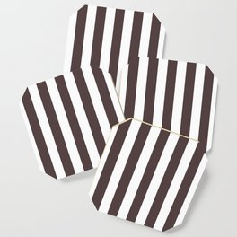 Dark puce purple - solid color - white vertical lines pattern Coaster