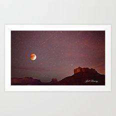 Blood Moon Eclipse over Sedona Art Print