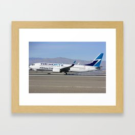Westjet Boeing 737-800, C-GAWS 100th 737 for Westjet at McCarran Airport Las Vegas Framed Art Print
