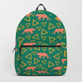 Wild African walking orange lions and abstract triangle shapes. Stylish whimsical ethnic tribal dark green retro vintage geometric animal nature pattern. Backpack