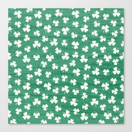 DANCING SHAMROCKS on green Canvas Print