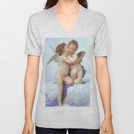 Cupid & Psyche by Bouguereau 1889 Unisex V-Neck