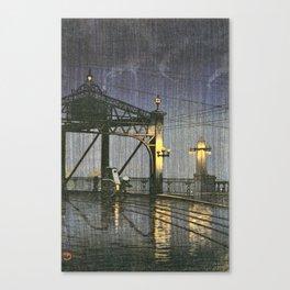 Kawase Hasui - Twenty Views Of Tokyo, Shinohashi Bridge - Digital Remastered Edition Canvas Print