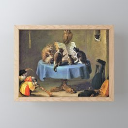 Cat Concert - David Teniers the Younger Framed Mini Art Print