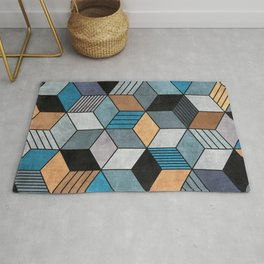 Colorful Concrete Cubes 2 - Blue, Grey, Brown Rug