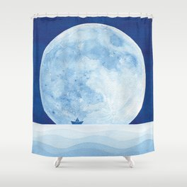 Full moon & paper boat Shower Curtain