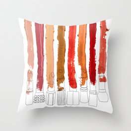 Lipstick Stripes - Red Orange Gold Throw Pillow