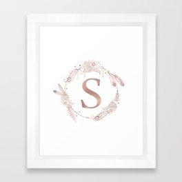 Letter S Rose Gold Pink Initial Monogram Framed Art Print
