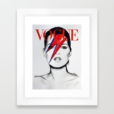 Vogue Magazine Cover. Kate Moss as David Bowie. Fashion Illustration. Framed Art Print