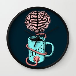 Coffee for the brain. Funny coffee illustration Wall Clock