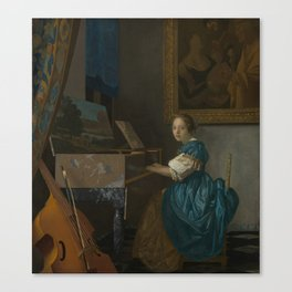"""Johannes Vermeer """"Lady Seated at a Virginal"""" Canvas Print"""