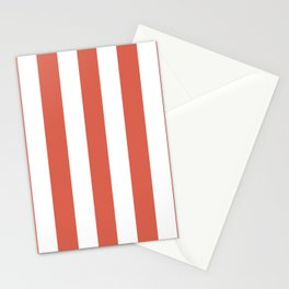 Jelly bean pink - solid color - white vertical lines pattern Stationery Cards