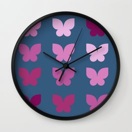 Butterflies in Purple Ombre with Dark Blue Background Wall Clock