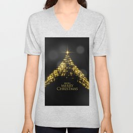 Gold Sparkle Wish You A Merry Christmas Tree Unisex V-Neck