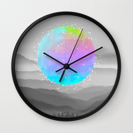 Worlds That Never Were (Geodesic Moon) Wall Clock