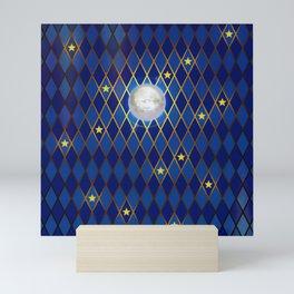 Moon & Stars - Midnight Blue Harlequin Mini Art Print