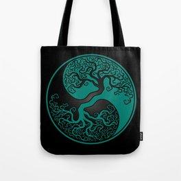 Teal Blue and Black Tree of Life Yin Yang Tote Bag