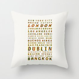 Travel World Cities Throw Pillow
