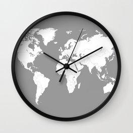 Minimalist World Map in Grey Wall Clock