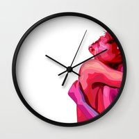 women Wall Clocks featuring women by veronica ∨∧