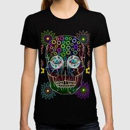 skull neon flowers T-shirt