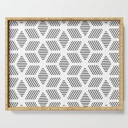 Geometric Line Lines Diamond Shape Tribal Ethnic Pattern Simple Simplistic Minimal Black and White Serving Tray
