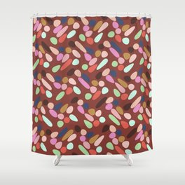 Dancing Shapes Pattern Multicolored Red Shower Curtain