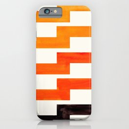 Orange & Black Geometric Minimal Mid Century Modern Lightning Bolt Pattern Watercolor Art iPhone Case