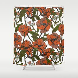 Autumnal flowering of poppies I Shower Curtain