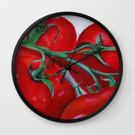 On The Vine Tomato Painting Wall Clock