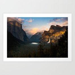 Yosemite National Park - Bridalveil Fall Tunnel View at Dusk Art Print