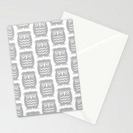 Mid Century Owl Pattern Grey Stationery Cards