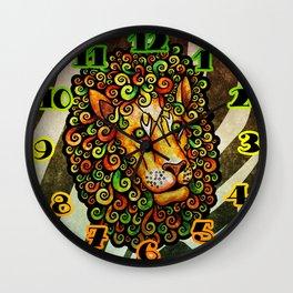 Lion with curly mane (yellow green orange rasta lions wild zebra) Wall Clock