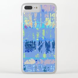 Abstract Forest Trees in Blue and Lilac Clear iPhone Case